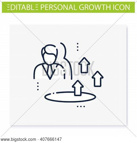 Growth Zone Line Icon. Route To Success. Self Improvement And Self Realization. Business And Career