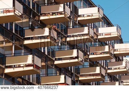 Viña Del Mar, Region De Valparaiso, Chile, South America - October 10, 2004 - The Unique Balconies O