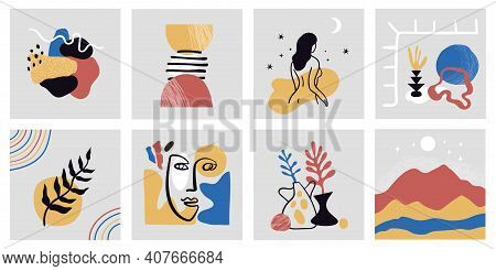 Collection Of Hand Drawn Modern Colorful Art Posters. Abstract Set Of Modern Trendy Illustrations.