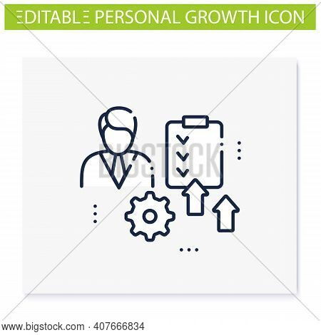 Personal Development Plan Line Icon. Personal Growth Concept. Self Improvement And Self Realization.