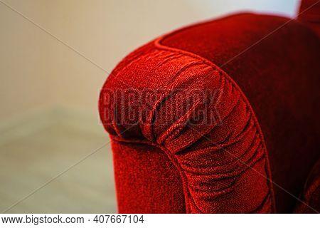 Beautiful Classic Red Velvet Luxurious Sofa. Burgundy Velvet Armrest.