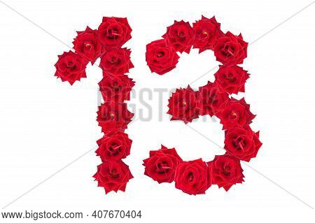 Numeral 13 Made Of Red Roses On A White Isolated Background. Red Roses. Element For Decoration. Thir