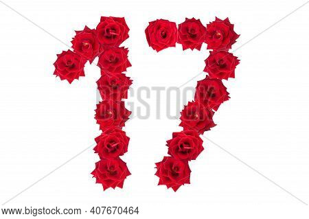 Numeral 17 Made Of Red Roses On A White Isolated Background. Red Roses. Element For Decoration. Seve