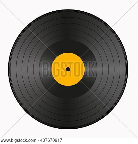 Realistic Vinyl Record. Vector, Record For The Gramophone. Classic Vinyl Record For Music. Editable
