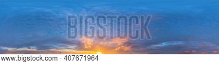 Dark Blue Sunset Sky With Cumulus Clouds. Seamless Hdr Panorama In Spherical Equirectangular Format.