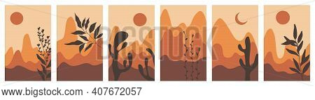 Set Of Landscapes With Trees And Vegetation. Mountains With Sunset And Botanical Illustration. Vecto