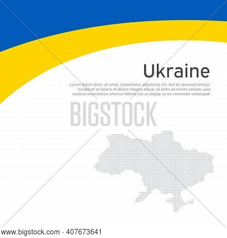 Abstract Waving Flag Of Ukraine. Creative Background For Patriotic Holiday Card Design. National Pos