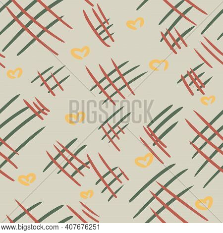 Abstract Gray Seamless Pattern With Red And Green Lines And Yellow Hearts. Design For Fabric, Textil