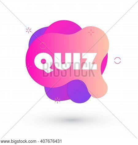 Quiz Logo In Liquid Bubble Style. Quiz Brainy Game Word. Vector