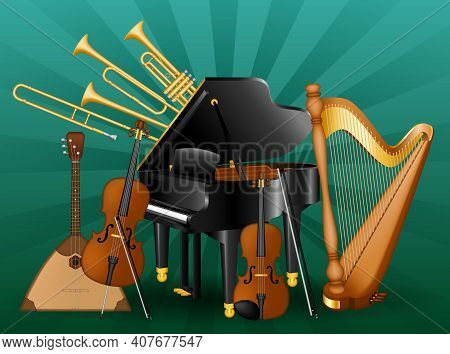 Set Various Musical Instruments. Classic Music Instruments. Vector Illustration Eps10
