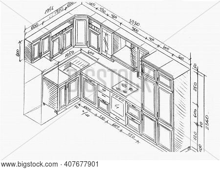 Drawing, Sketch Of Kitchen Furniture With Dimensions