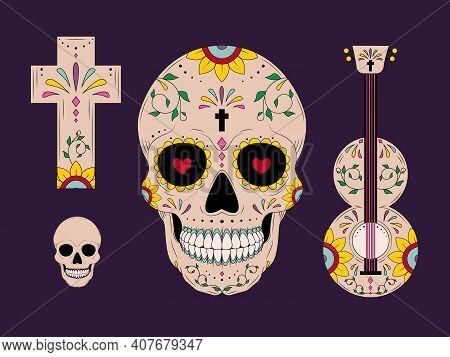 Dia De Los Muertos Mexican. Decoration With Sambrero And Flowers. Vector Illustration Background.