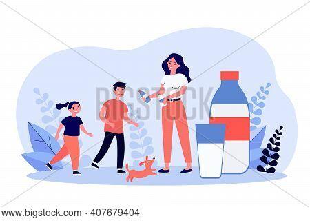Mom Giving Bottles Of Milk To Active Kids. Useful Drink, Calcium, Natural Food. Flat Vector Illustra