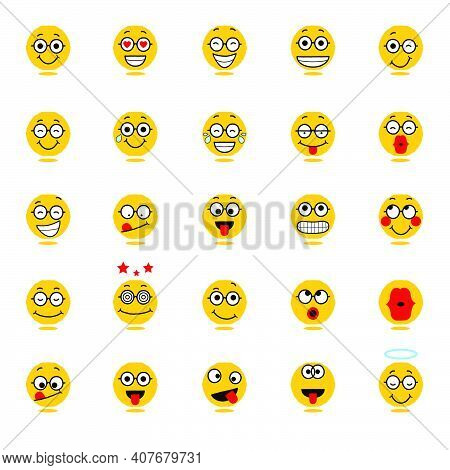 Smiling Cartoon Face Positive People Emotion. Icon Set Vector Illustration.
