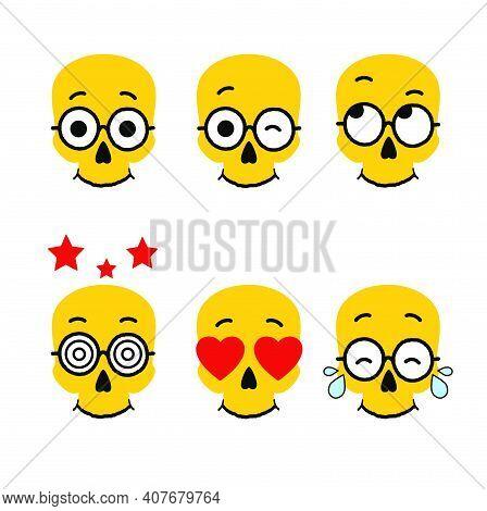 Smiling Cartoon Skull Emotion. Icon Set Vector Illustration.