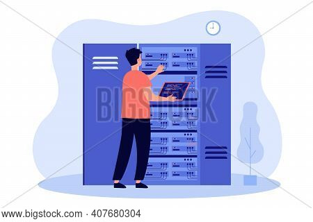 Engineer Examining Internet Server Equipment. Electrician Checking Cables On Switchboard. Vector Ill