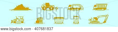 Set Of Landfill Cartoon Icon Design Template With Various Models. Modern Vector Illustration Isolate