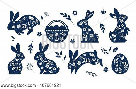 Happy Easter, Decorated Easter Card, Banner. Bunnies, Easter Eggs, Flowers And Basket. Folk Style Pa