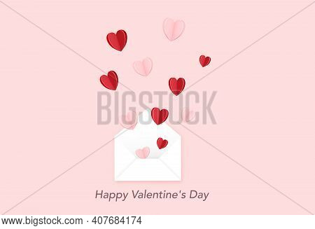 Valentines Day Banner, Open Envelope With.heart On Pink Background.