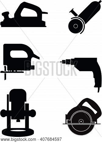 Electric Repair Tools Set Vector Silhouette Illustration Isolated