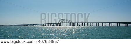 Crimean Bridge Across The Kerch Strait On A Clear Day