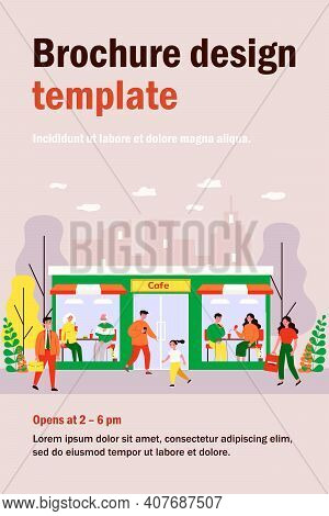 Customers Walking To Cafe. People Of Different Ages Enjoying Lunch In Diner, Facade View Flat Vector