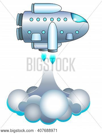 Spaceship Takes Off Horizontally From The Surface - Vector Full Color Illustration With Spacecraft.