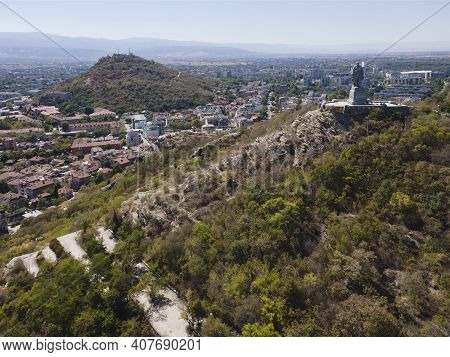 Plovdiv, Bulgaria - September 6, 2020: Aerial View Of Monument Of The Soviet Army Known As Alyosha A