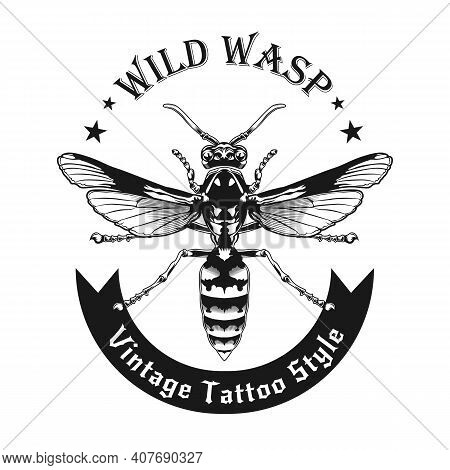Monochrome Wild Wasp Stylish Banner Vector Illustration. Black And White Top View Of Wasp. Dangerous