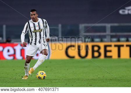 Torino, Italy. 09th Fabruary 2021 . Alex Sandro Of Juventus Fc  During The Coppa Italia Semi-final