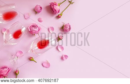 Wine Glass Flower Rose On Colored Background
