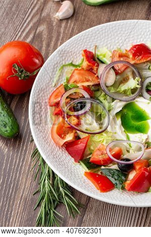 Greek Salad With Fresh Vegetables: Tomato, Cucumber, Red Bel Pepper, Lettuce, Onion, Olives And Chee