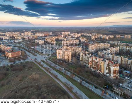 Plovdiv, Bulgaria - February 4, 2021: Aerial Sunset View Of Typical Residential Building From The Co