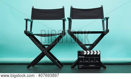 Black Two Director Chair With Clapperboard Or Movie Clapper Board On Green Or Tiffany Blue And Black