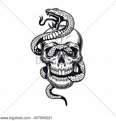 Skull With Snake Tattoo Design. Monochrome Element With Dead Skeleton Head Vector Illustration. Wild