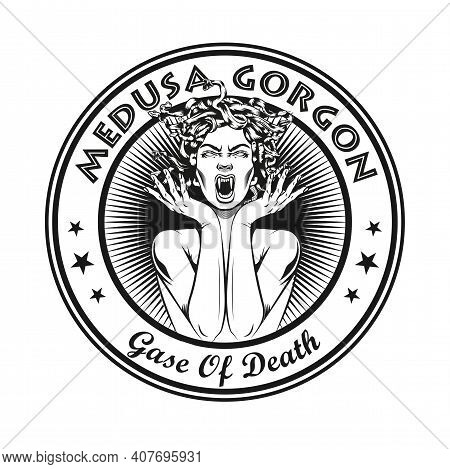 Round Vintage Badge With Medusa Gorgon Vector Illustration. Monochrome Woman With Snakes For Hair Sc