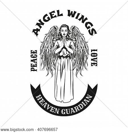Black Badge With Pretty Angel Praying Vector Illustration. Vintage Mythical Female Character With Wi