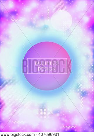 Fluorescent Cover With Liquid Neon Shapes. Purple Fluid. Luminous Background With Bauhaus Gradient.