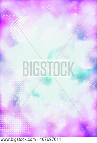 Purple Cover With Liquid Neon Shapes. Luminous Fluid. Fluorescent Background With Bauhaus Gradient.