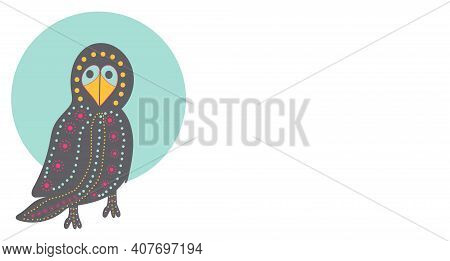 Dark Crow With An Ornament Of Colored Circles In The Form Of A Banner