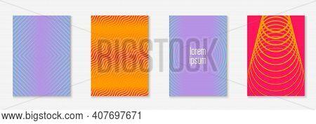 Design Magazine Cover. Multiply Placard, Annual Report, Folder, Presentation Mockup. Orange And Pink