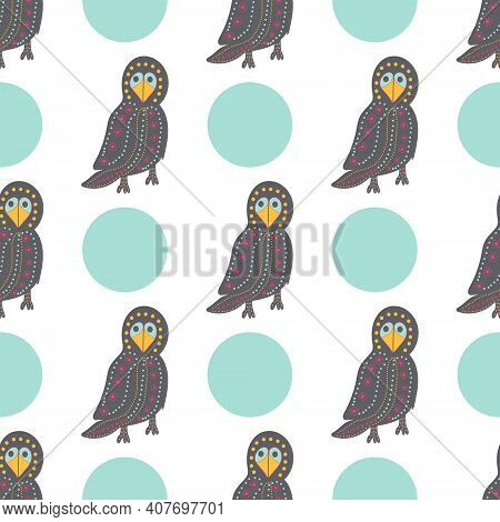 A Pattern Of A Bright Crow And A Circle On A White Background