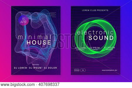Sound Flyer. Minimal Discotheque Cover Set. Dynamic Fluid Shape And Line. Neon Sound Flyer. Electro