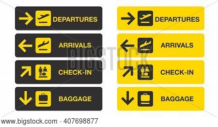 Airport Sign Isolated On White Background. Airport Board Airline Sign, Departures, Arrivals, Check I