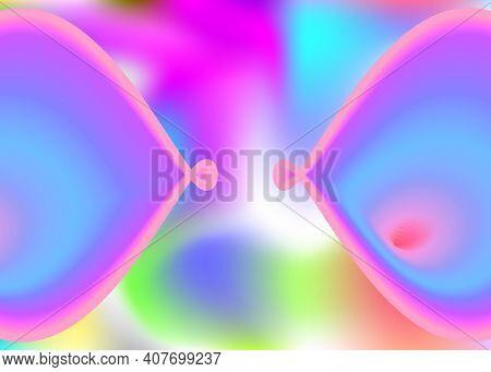 Fluid Dynamic. Holographic 3d Backdrop With Modern Trendy Blend. Vivid Gradient Mesh. Neon Presentat