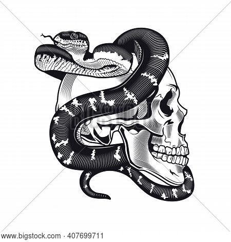 Skull With Python Tattoo Design. Monochrome Element With Dead Skeleton Head And Snake Vector Illustr