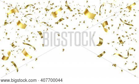 Gold Confetti Celebration.gold Confetti Falling Festive Decoration For Birthday Party Celebration.