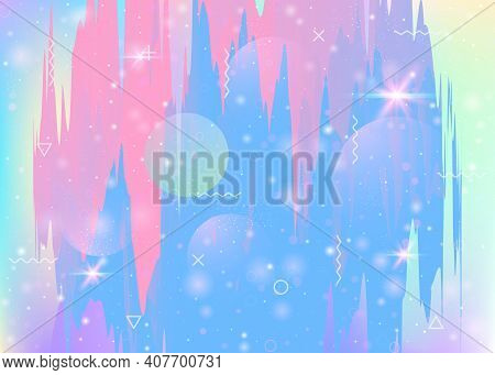 Universe Landscape With Holographic Cosmos And Abstract Future Background. Minimal Mountain Silhouet