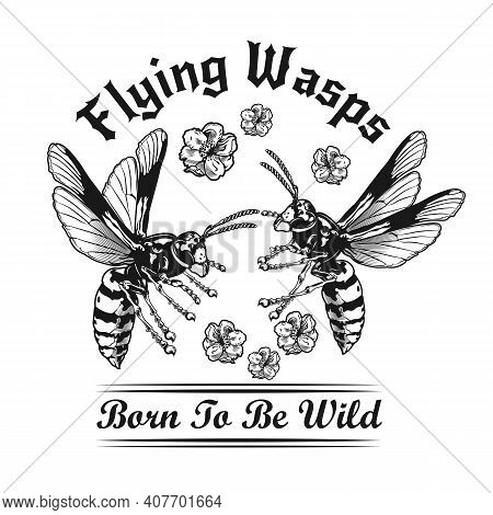Two Wasps In Flowers Black And White Tattoo Vector Illustration. Vintage Flying Wasps And Blossoms.