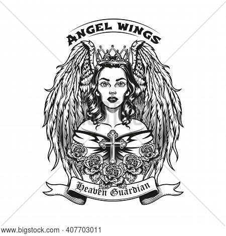 Vintage Badge With Beautiful Angel Vector Illustration. Monochrome Female Character In Crown With Wi